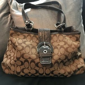 Brown and Canvas Monogrammed Coach Bag